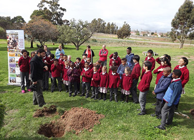 Mr Werner Voigt, Karoo Desert NBG Curator giving a speech on Arbor Week at Youth With A Mission Christian School.