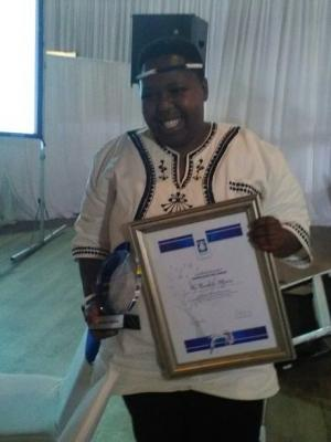 Namhla with her awards